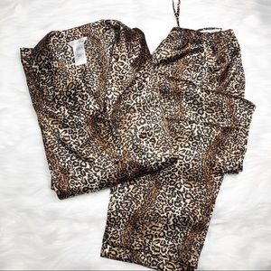 Leopard Print Satin Pajama Set Secret Treasures M